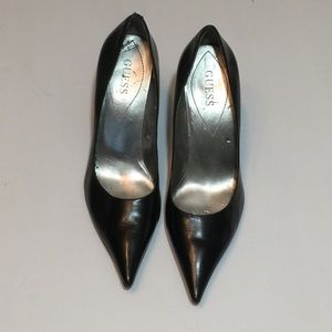 Guess Black Leather Point Toe Stilettos Heels 7